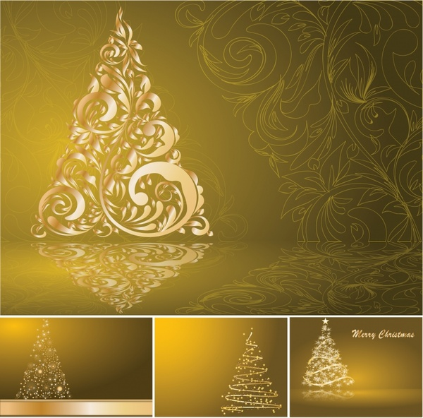Christmas Background Templates Modern Sparkling Golden Fir Tree Free