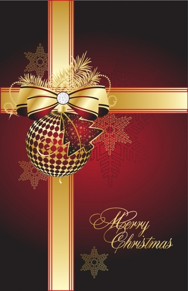 christmas background elegant red golden bauble ribbon decor