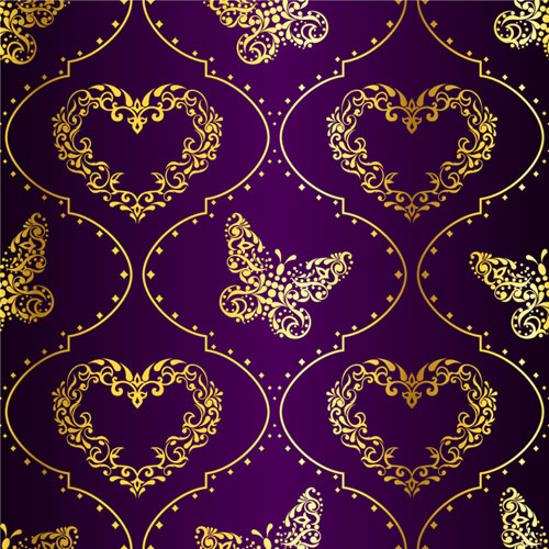 golden easter pattern and purple background vector