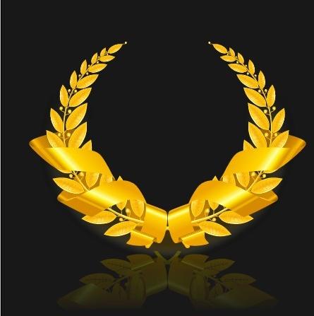 golden emblem and frames decorative elements vector
