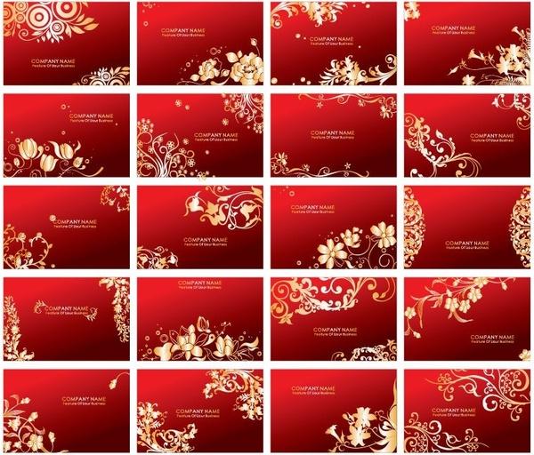 Golden Floral Business Cards Vector Set