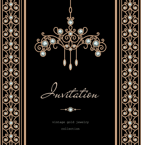 golden floral with jewels and black background vector