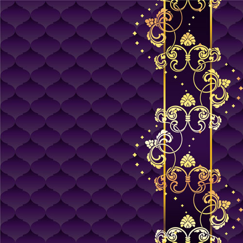 Golden floral with purple textures background vector Free