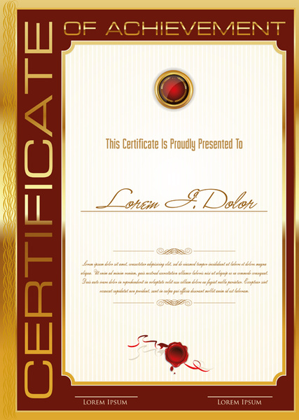 Golden Frame Certificate Template Vector Free Vector In Adobe