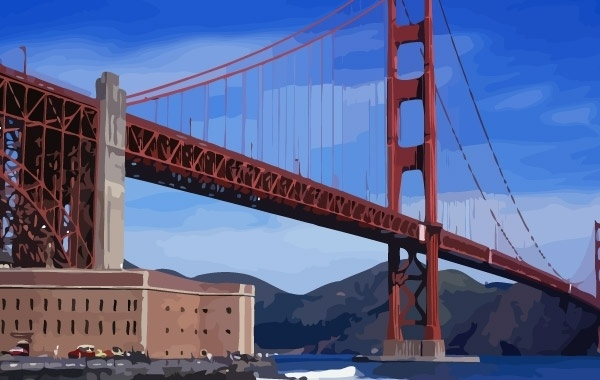 Golden Gate Bridge Vector Free Vector In Adobe Illustrator