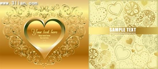 wedding card templates shiny golden hearts decor