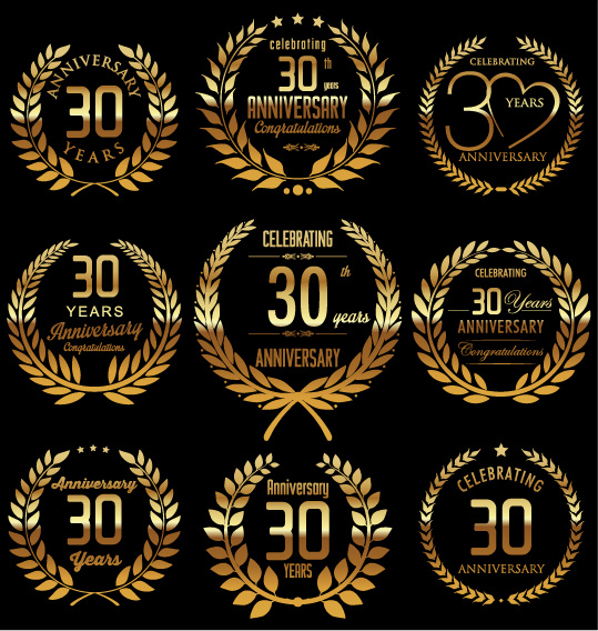 golden laurel wreath with anniversary celebration labels vector