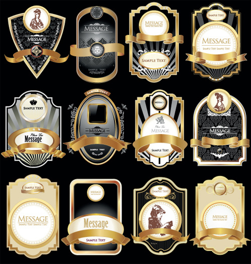 golden luxurious retro labels design vector