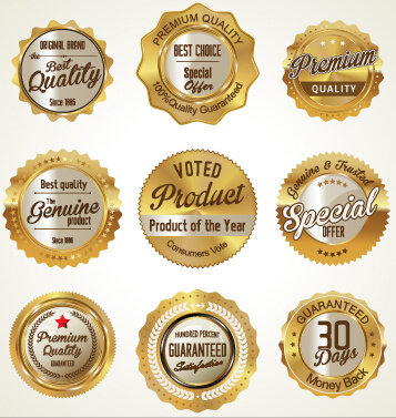 golden luxury commercial labels with badges vector