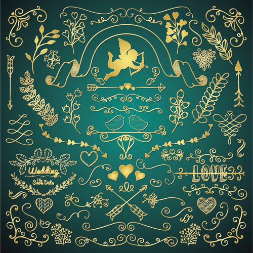 golden valentine day decor elements vector