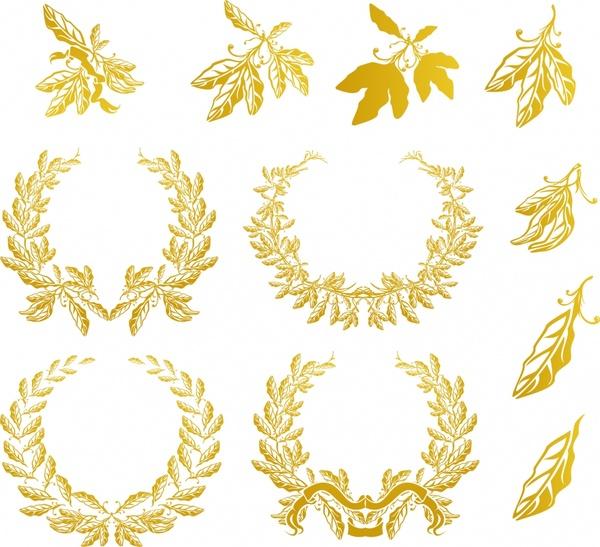 wreath design elements golden leaf icons decor
