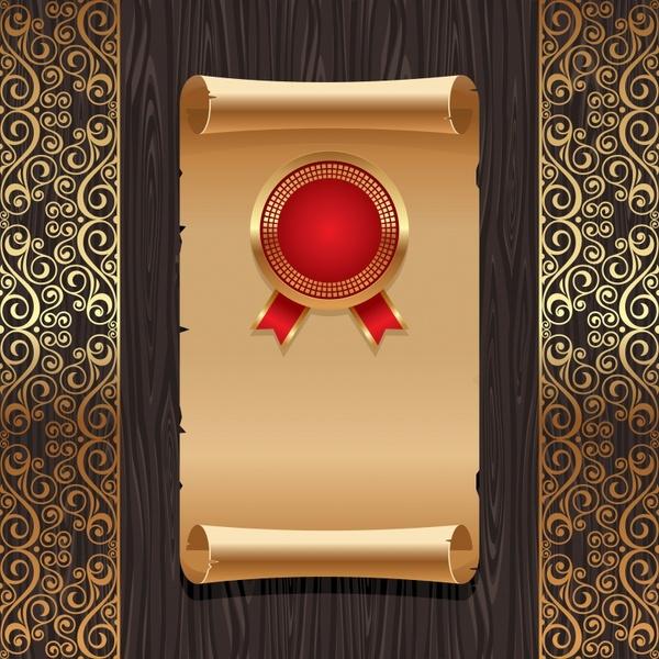 golden wood background old paper pattern vector