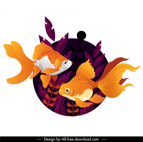 goldfish painting aqua background modern design