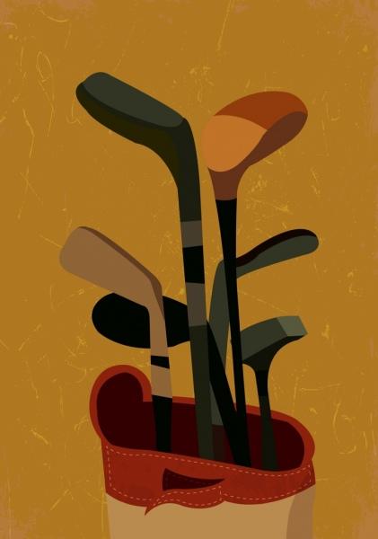 golf background stick icons retro design