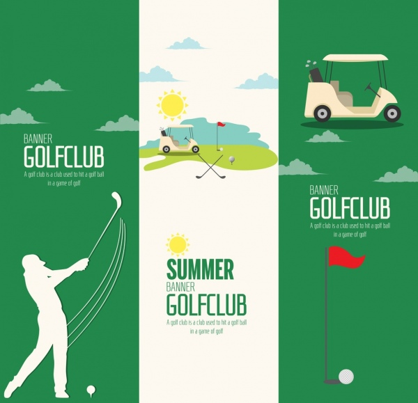 Golf Club Advertisement Sets Vertical Green White Design Free Vector In Adobe Illustrator Ai Ai Format Encapsulated Postscript Eps Eps Format Format For Free Download 2 89mb