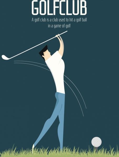 golf club banner player icon colored cartoon design