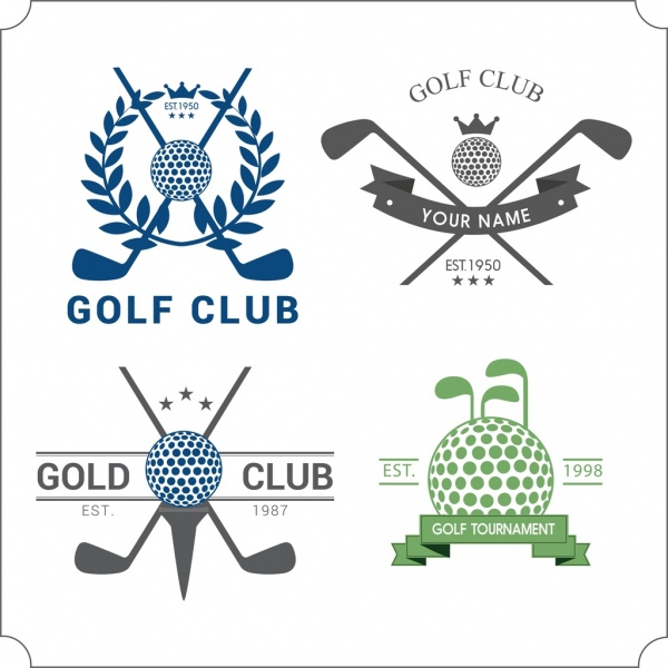 golf club logotypes isolation ball sticks icons decoration