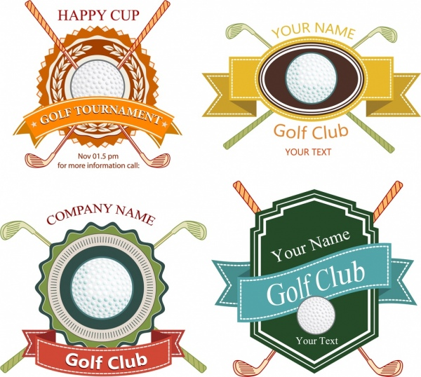 golf club logotypes various colored shapes isolation