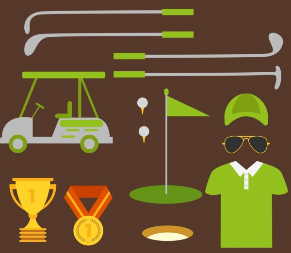 golf design elements various colored symbols flat decor