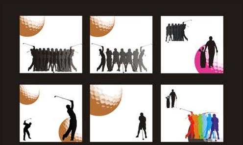 golf figure silhouettes vector