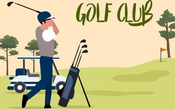 golf game background player icon cartoon design