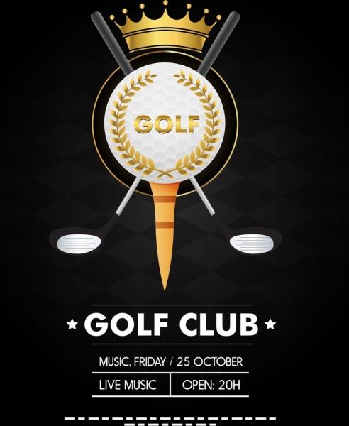 golf tournament banner dark elegant design crown icon
