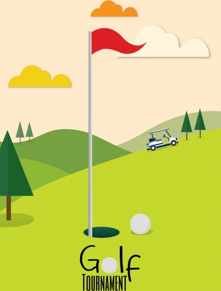 golf tournament banner green course icon cartoon design
