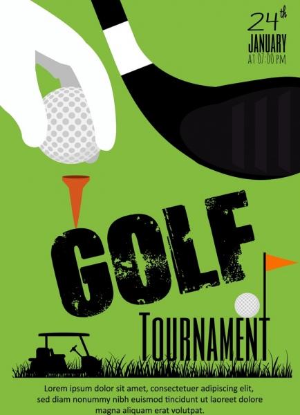golf tournament banner green design hand ball icons