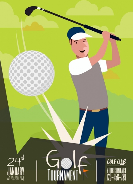 golf tournament banner player ball icon green design