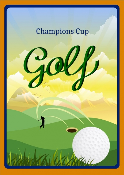golf tournament banner player silhouette ball icon