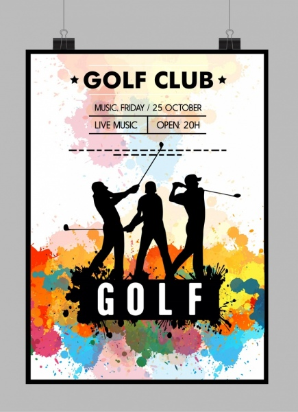 golf tournament poster golfer silhouette watercolor grunge decor