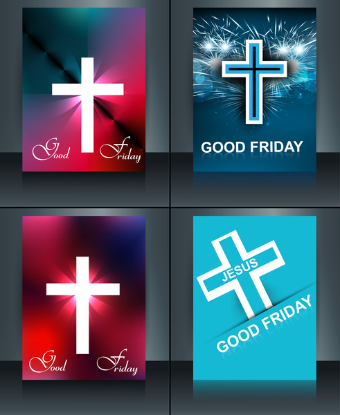 good friday brochure template collection card for jesus cross