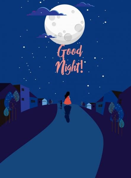 good night banner dark blue design moon icon