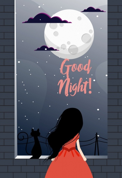 good night banner round moon little girl icons