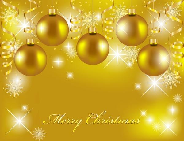 christmas background gorgeous twinkling golden bauble balls decor