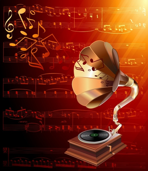 music background 3d retro speaker dynamic notes decor