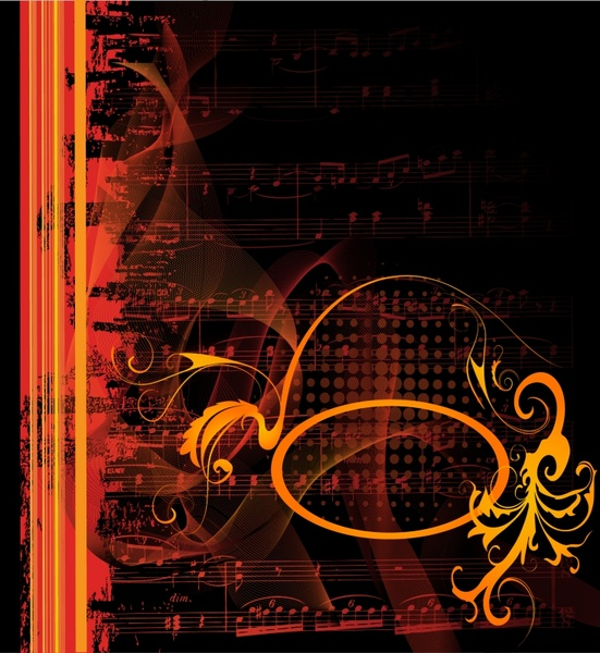 Melody background dark blurred music notes decor Free vector