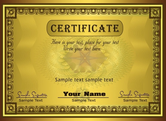Gorgeous Diploma Certificate Template 02 Vector Free Vector In