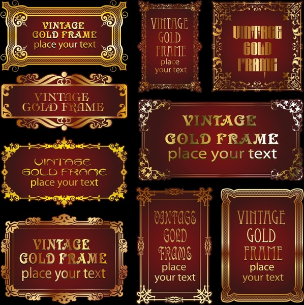 decorative frames templates elegant golden retro decor