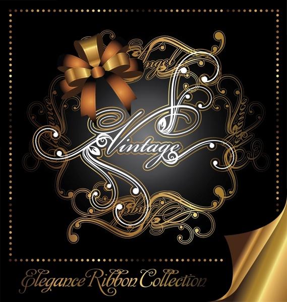 decorative card cover template elegant dark 3d modern