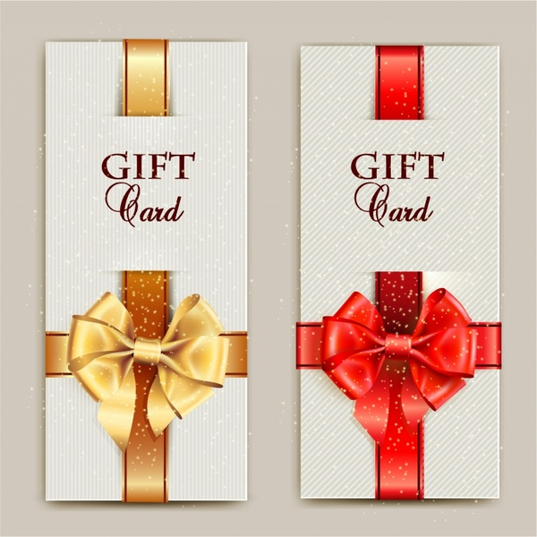 Gorgeous gift cards with bows and copy space