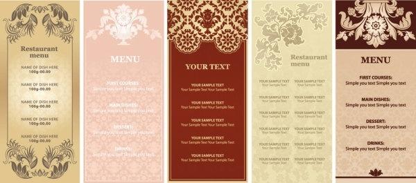 gorgeous restaurant menu vector