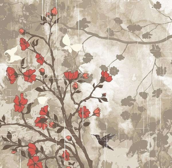 nature painting dark colored retro flora birds decor