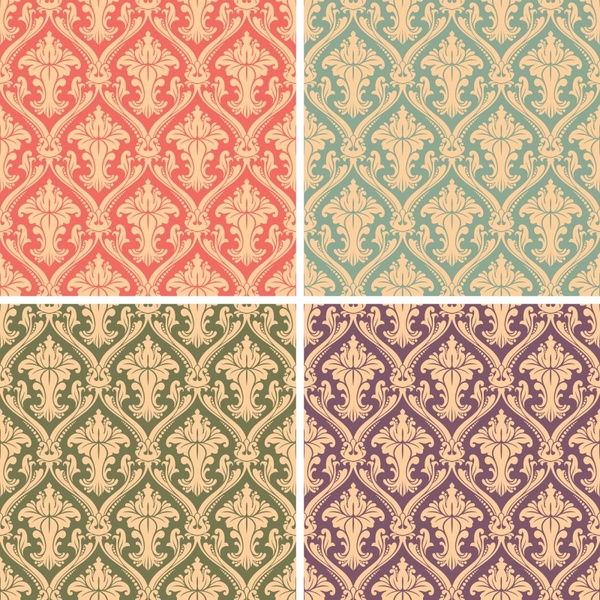 traditional pattern templates colored flat retro seamless symmetry