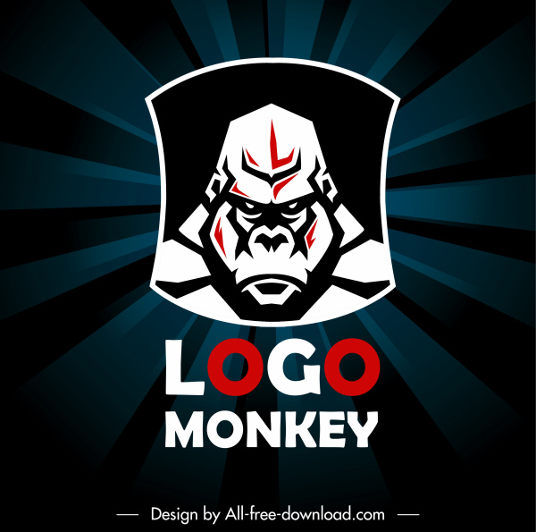 gorilla logo template dark flat sketch