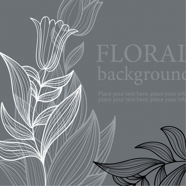 floral background black white classical sketch