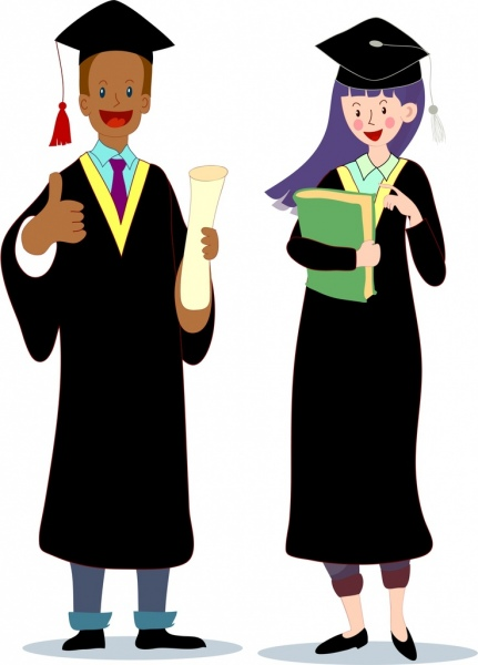graduated student icons colored cartoon characters