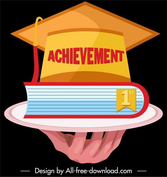 graduation achievement icon 3d hat book hand sketch