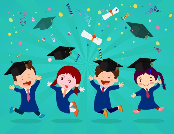 Graduation Background Joyful Kids Icons Colored Cartoon Desgin Colorful Silhouettes Of