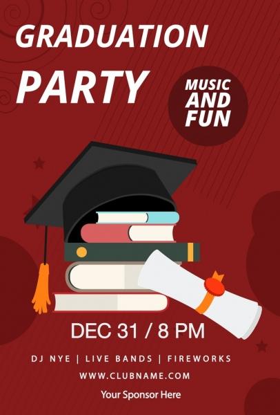 graduation party banner book diploma cap icons decor